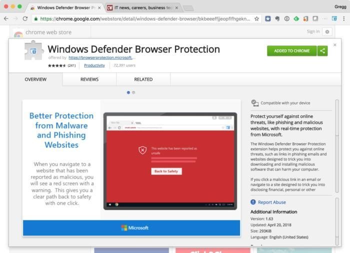 Windows Defender Browser Protection
